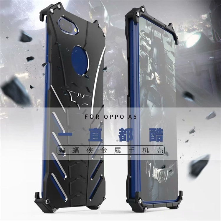 R-Just Batman Shockproof Aluminum Shell Metal Case with Custom Batarang Stent for OPPO A5