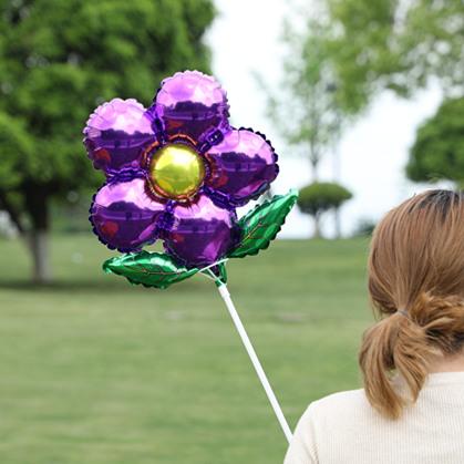 教室装饰布置花朵卡通託杆铝膜气球手持玩具微商扫码吸粉小礼品详细照片