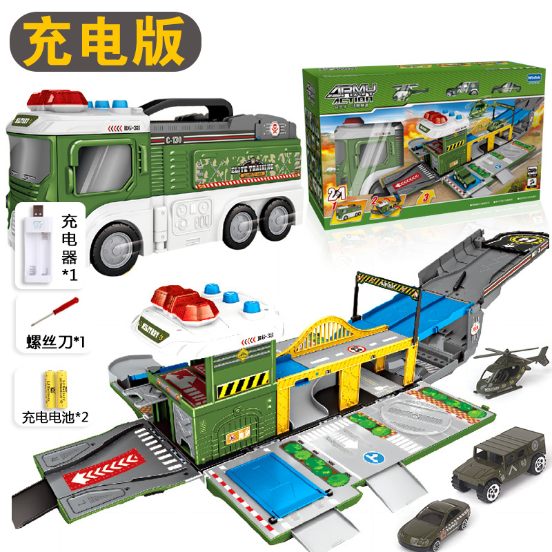 Deformation Scene Military Vehicle | With 2 Car +1 Aircraft | Charging Version
