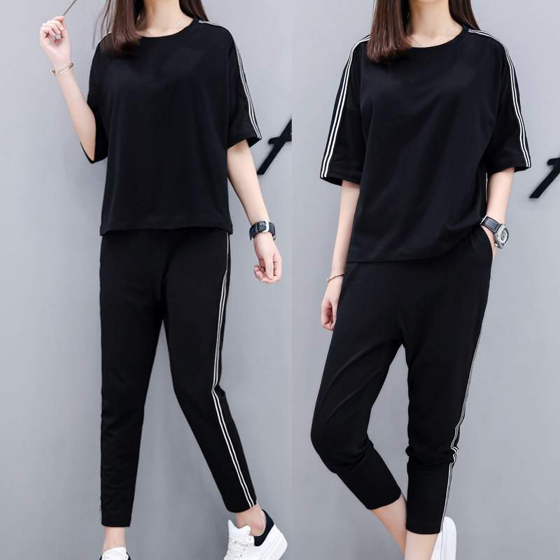 Sports suit summer fashion summer casual sweater two-piece sportswear female spring and autumn 2018 new wave summer