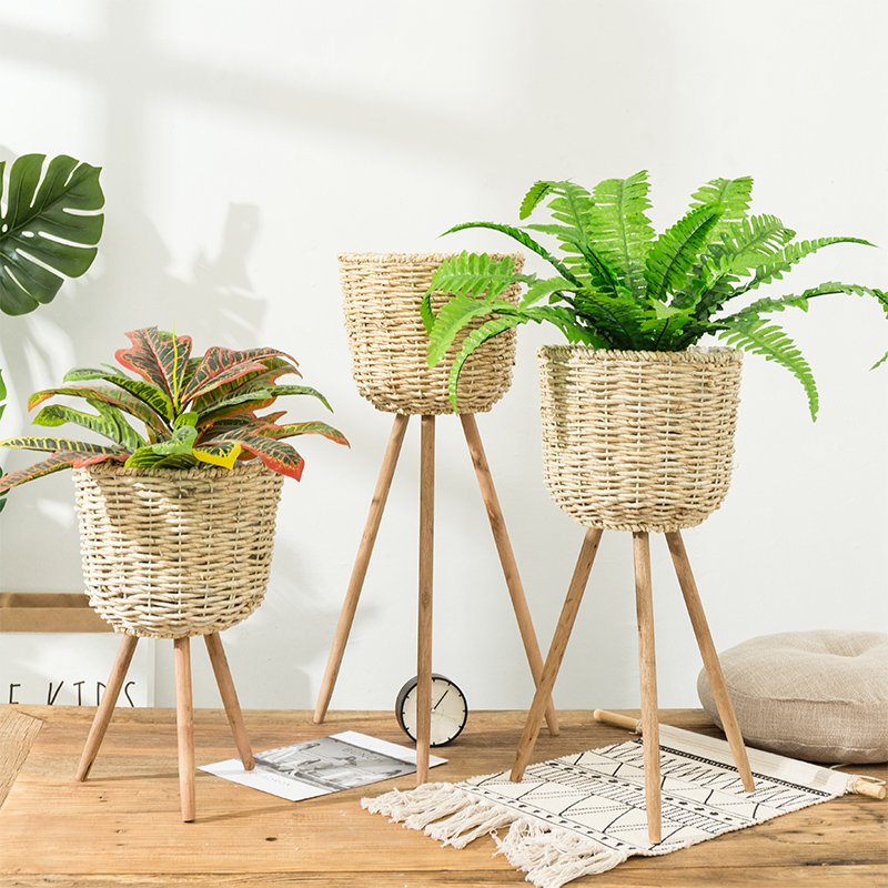 Nordic Style Floor Flowerpot Straw Decoration Home Living Room Decorations  Balcony Clothing Store Florist Plant Flower