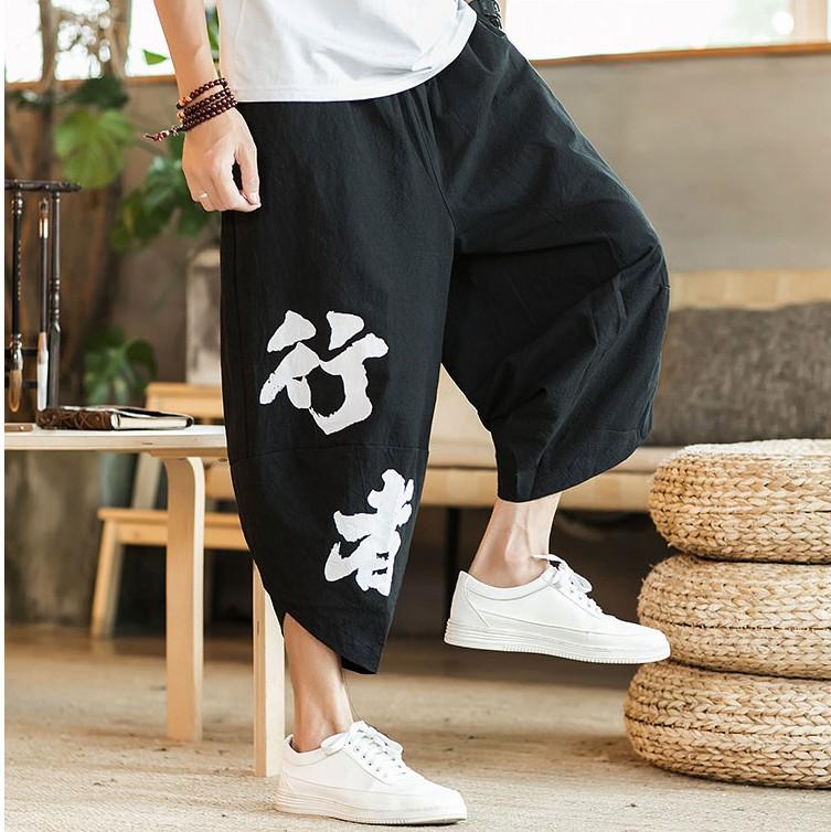 Cắt quần nam mùa hè lỏng thêu Trung Quốc phong cách quần rộng chân treo 裆 嘻 ha cộng với phân bón XL triều quần âu