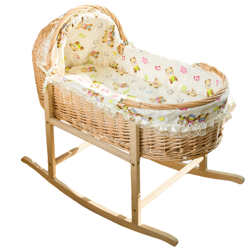 Rattan Cradle Bed Portable Shopping Basket Moses Baby Basket Car  Environmental Protection Baby Solid Wood Cradle ...