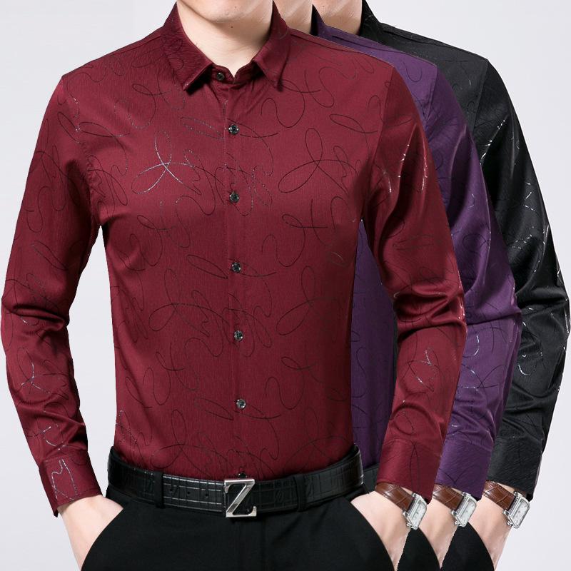 新款男式衬衫高档印花翻领长袖免熨烫商务衬衣