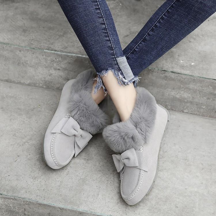 冬季棉鞋真毛大灰色平跟短靴加厚毛毛鞋蝴蝶结真皮靴女鞋v棉鞋雪地