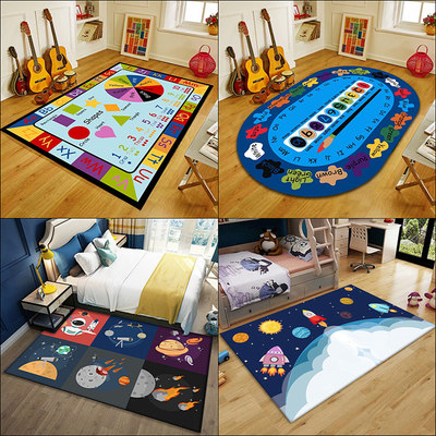 Cute children's room carpet bedroom bedside soundproof anti-fall mat nursery play crawling blanket puzzle game mat