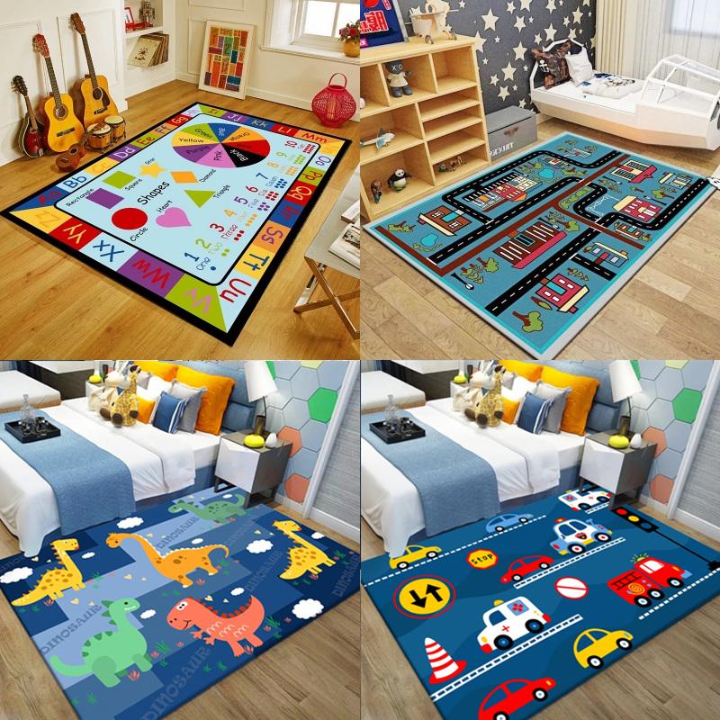 可爱儿童男孩地毯卧室房间卡通满铺床边毯定制榻榻米长方形爬行垫