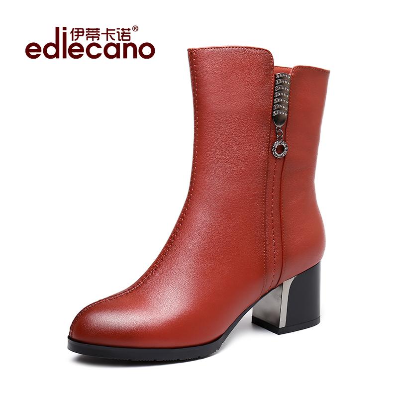 全牛皮靴子女靴2019秋冬新款真皮中筒靴女鞋英伦风复古加绒马丁靴