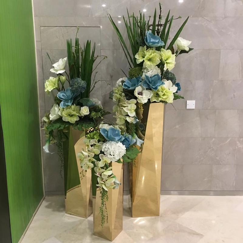 Цветочная ваза Из нержавеющей стали ваза позолоченный цветок моды от пола до потолка и горшки металлические вазы арт восьмиугольная цветочные орнаменты новые продукты