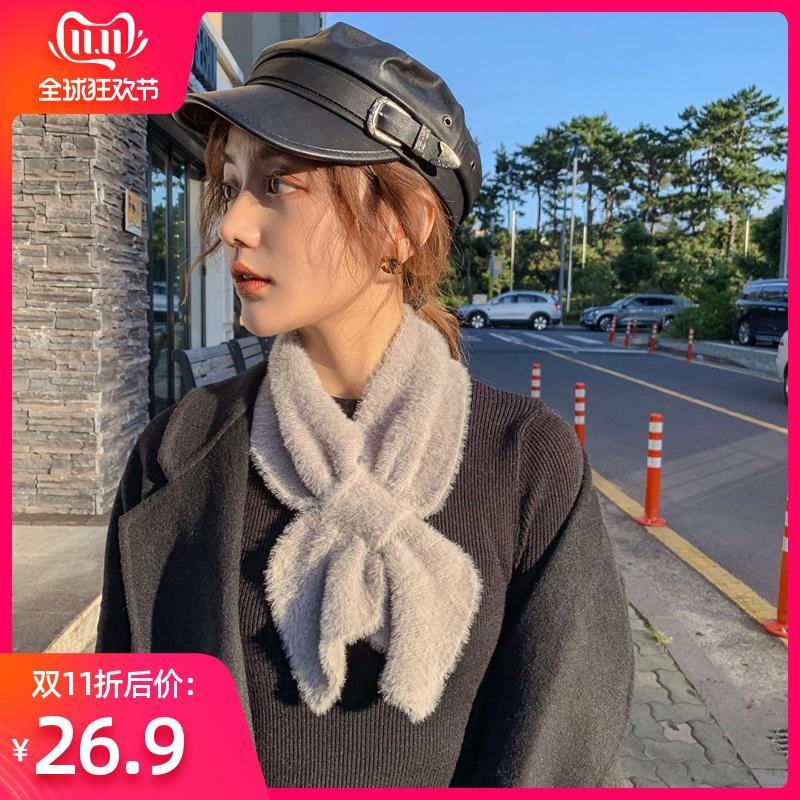 韩版冬季毛线女仿披肩毛a毛线加厚两用小水貂颈脖v毛线围巾护领巾套