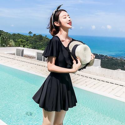 泳衣女连体平角遮肚显瘦保守裙式大码仙女范性感韩国温泉2021新款