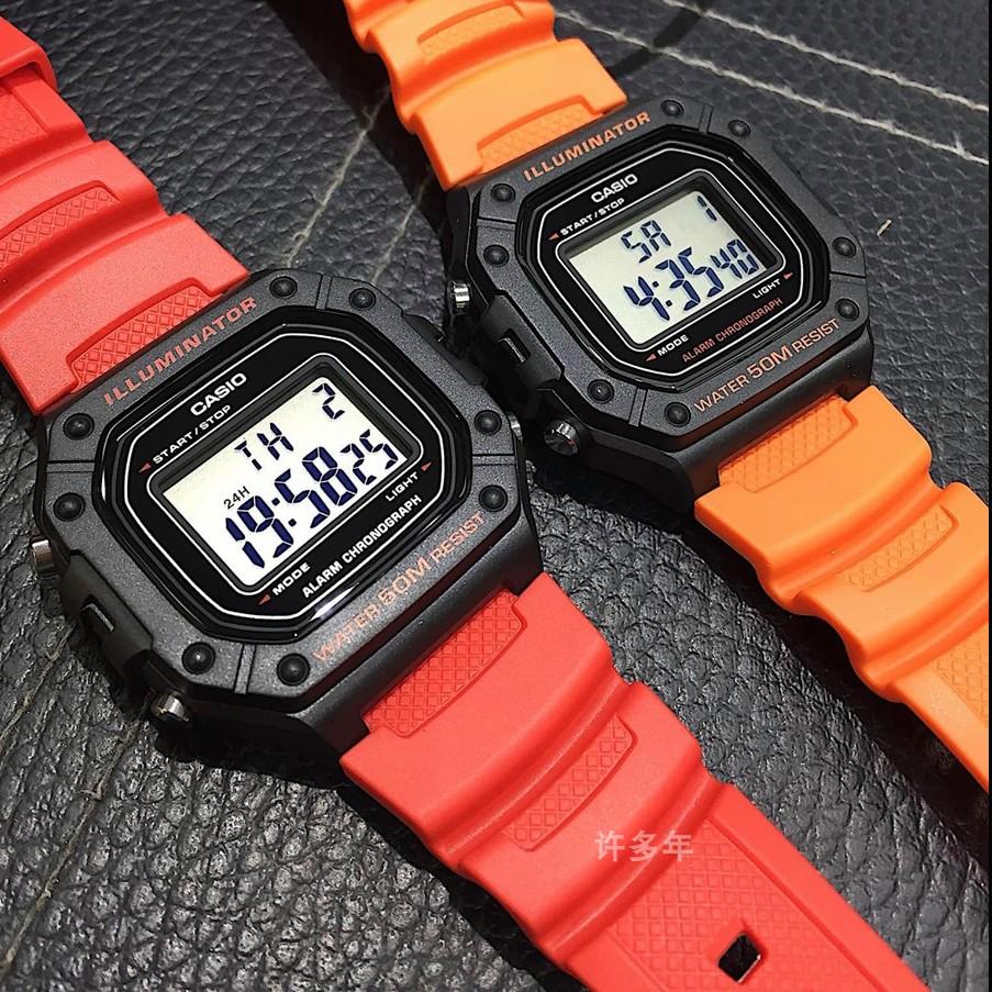 卡西欧Casio户外运动数显腕表小时尚方块防水W-218-1A/2A/3A/4B2