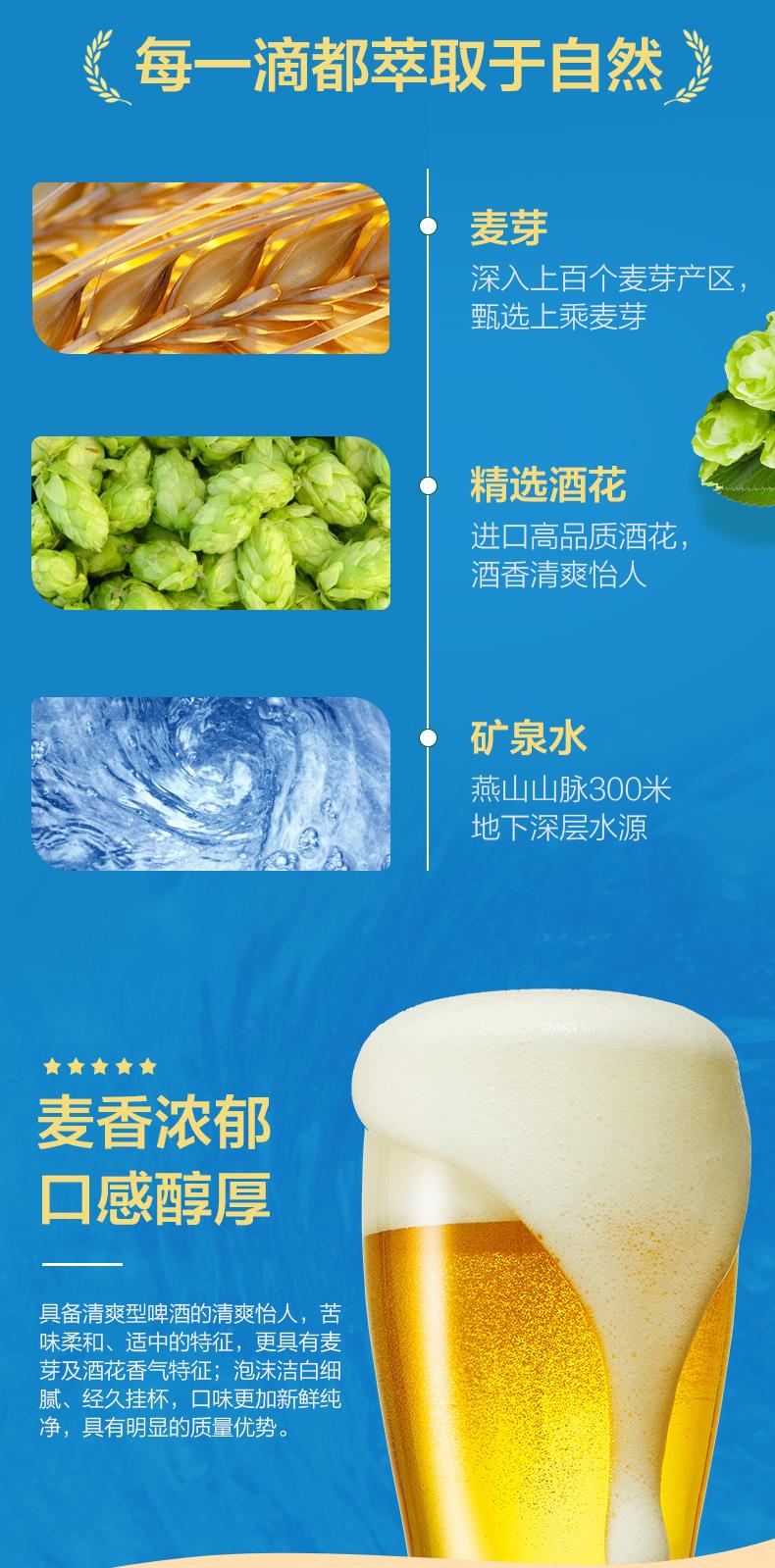 燕京啤酒 11度清爽黄啤酒330ml*24听 图4