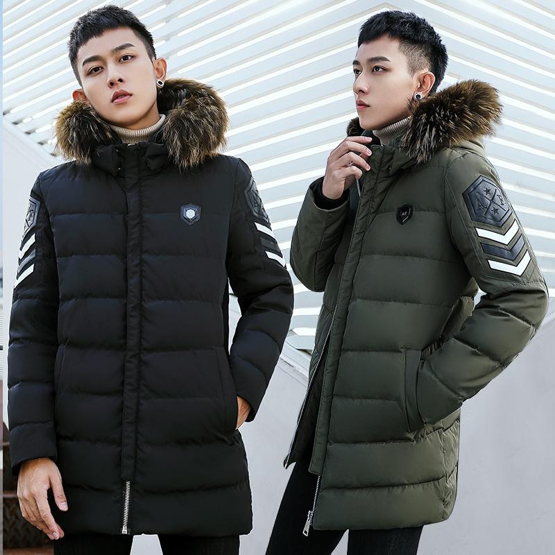 2017冬季新款中长款羽绒服男加厚韩版男装大码反季学生休闲外套潮