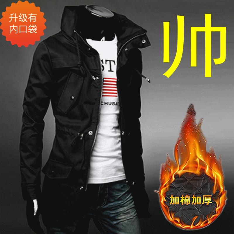 新款军款风衣男秋冬大码男士韩版修身中长款军式风衣夹克外套上衣