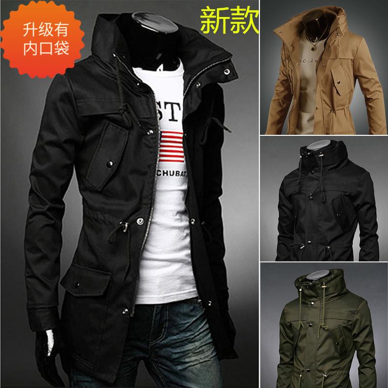 军式风衣男秋冬新款大码男士韩版修身中长款军款风衣夹克外套上衣