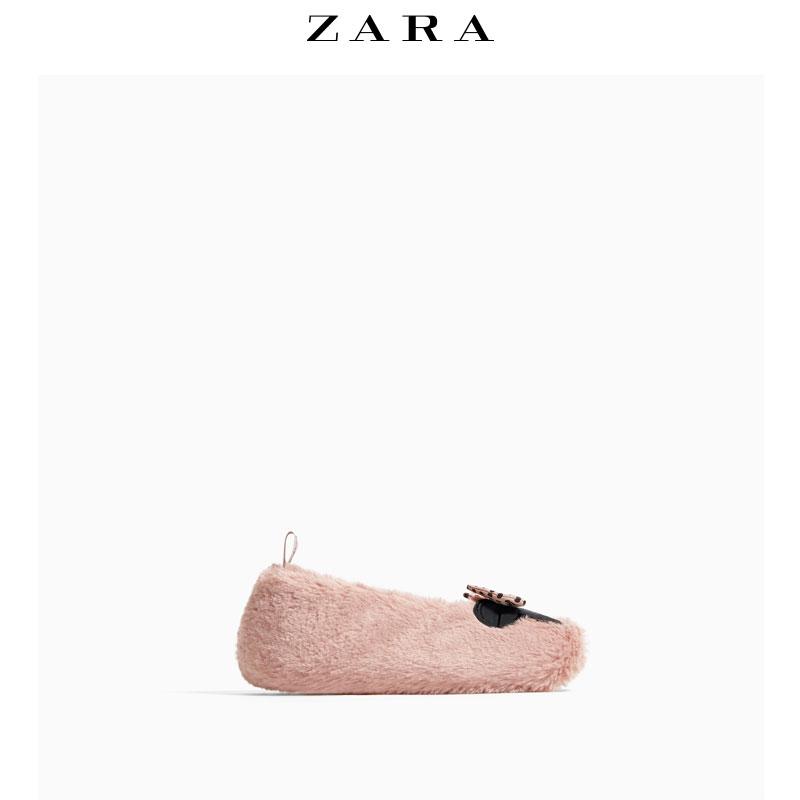 ZARA 儿童鞋子女 迪士尼米妮@刺绣居家鞋毛毛鞋 13700303050