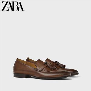 ZARA新款 男鞋 沙色牛皮革莫卡辛乐福鞋单鞋 12631002100