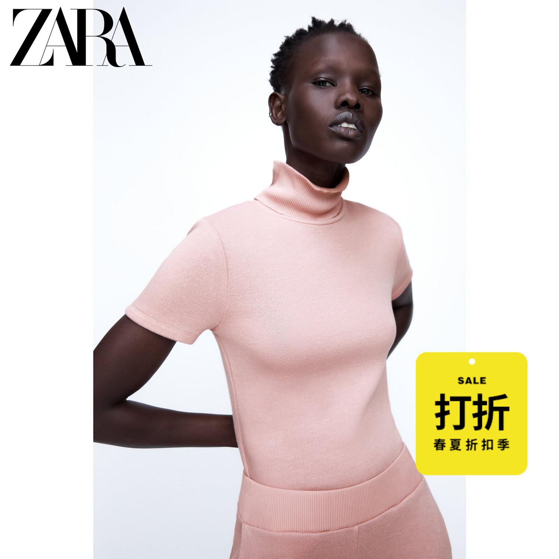ZARA [折扣季] 女装 罗纹领口软质高领短袖 T 恤 00264033621