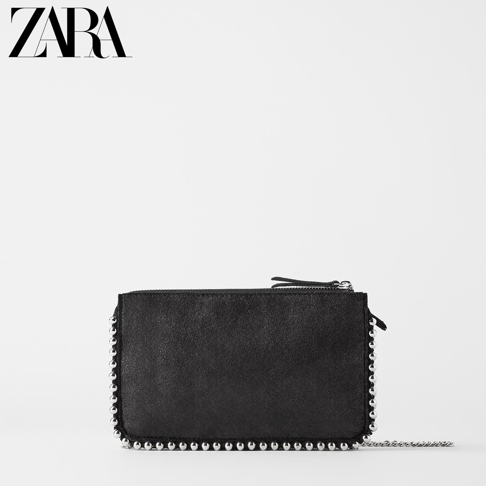 ZARA新款 女包 铆钉饰黑色单肩斜挎包 18085204040