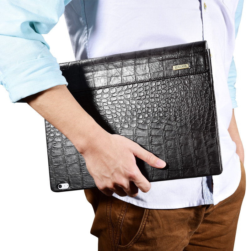 iCarer Oil Wax Vintage / Embossed Crocodile / Litchi Pattern Handmade Genuine Leather Detachable Flip Case for Surface Book