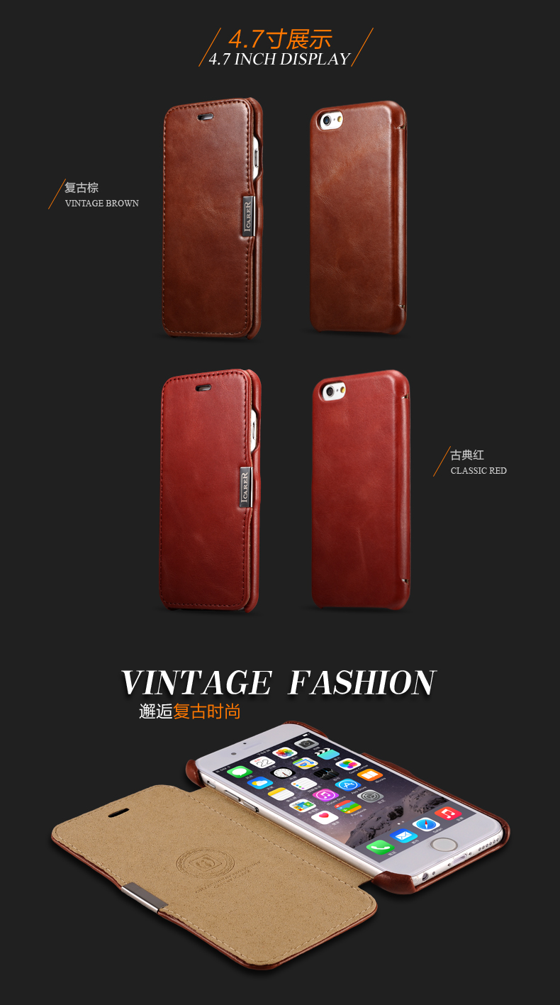 iCarer Vintage Series Side Open Handmade Genuine Cowhide Leather Case Cover for Apple iPhone 6S Plus/6 Plus & iPhone 6S/6