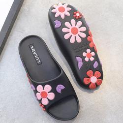 2017夏季新款凉拖鞋女夏大花朵一字拖软底防滑时尚平跟立体沙滩鞋
