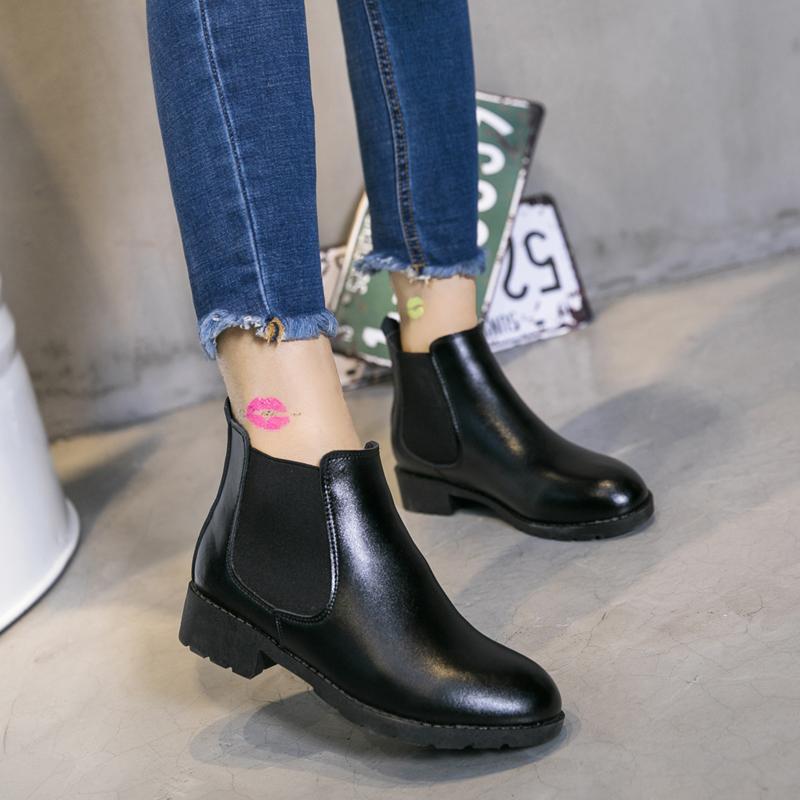 切尔西短靴潮马丁靴女平底真皮短筒女靴子秋冬季单靴女鞋平跟牛皮