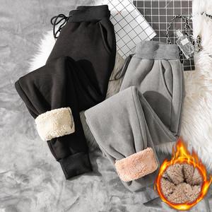加绒运动裤女秋冬季加厚羊羔绒棉裤宽松哈伦束脚外穿女休闲卫裤子