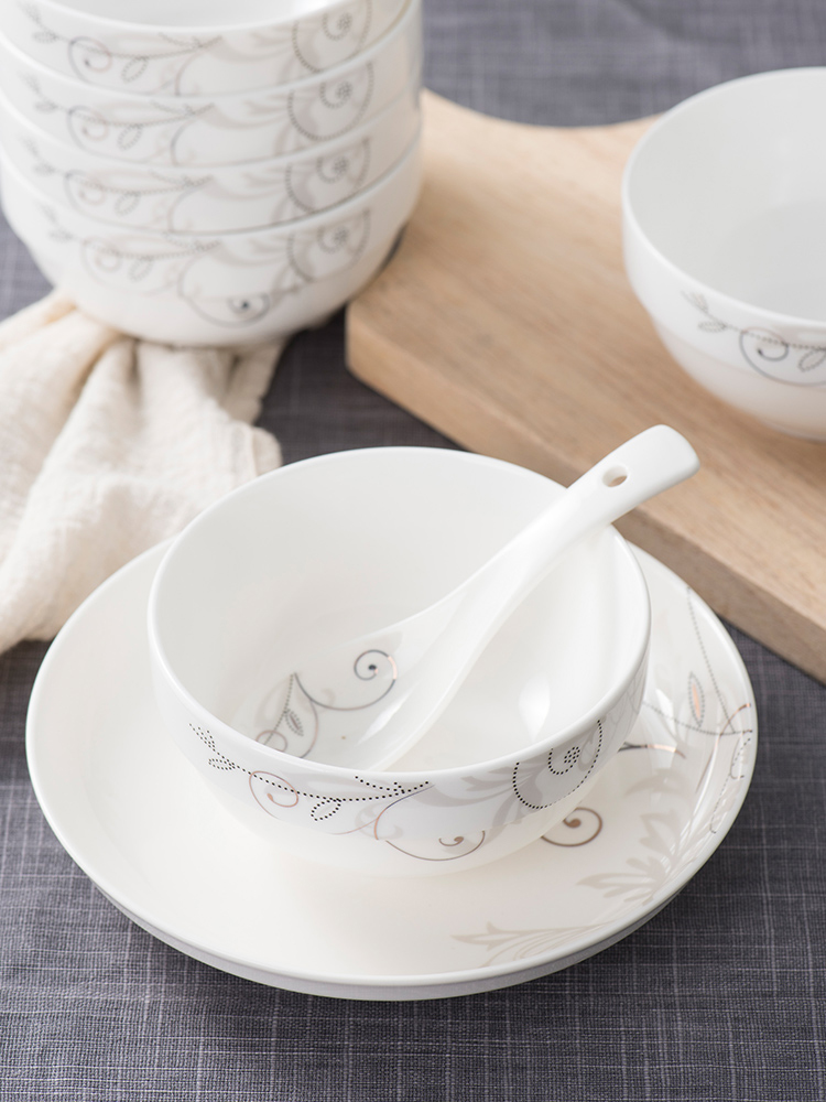 Home bowl 10 sets of porcelain bowl ceramic rice bowl a single meal small bowl Jingdezhen simple traditional Chinese rice