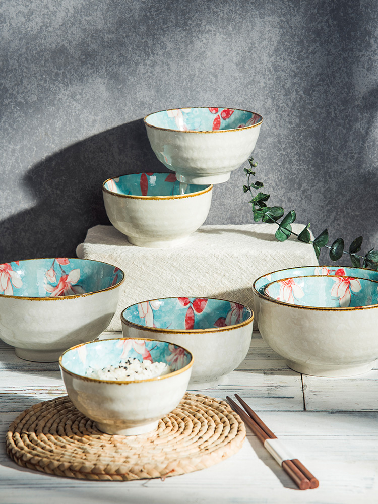 Bowls of single household rice bowl Nordic porcelain bowl bubble noodle bowl Japanese-style tableware fresh ceramic small dishes set creative personality