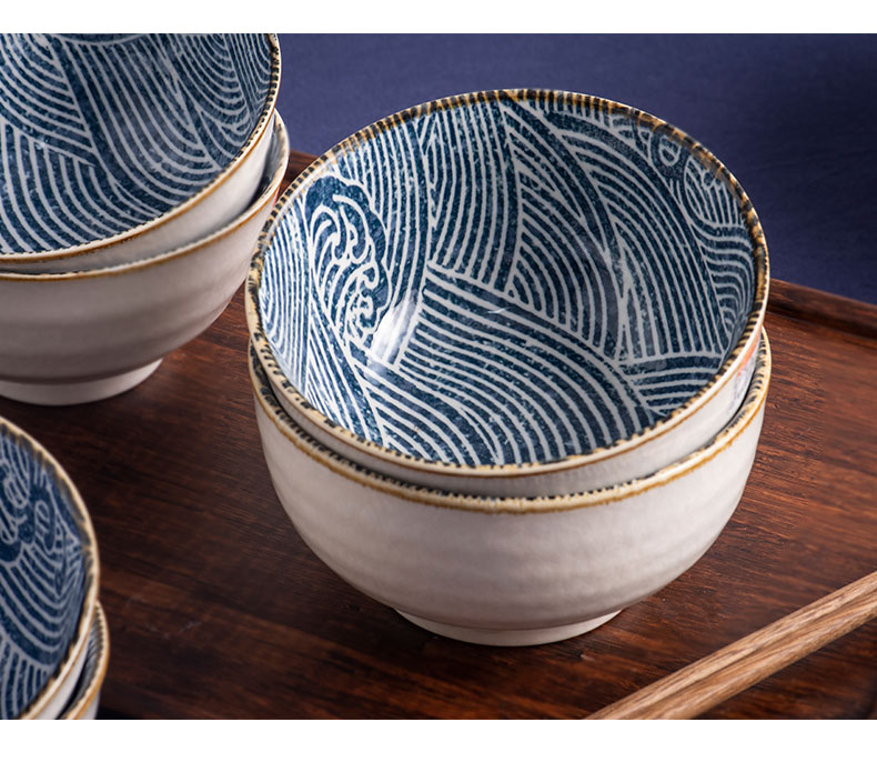 Ten bowl bowl of household ceramic tableware to restore ancient ways small bowl five inches ins single rice bowls Japanese rice bowl bowl combination