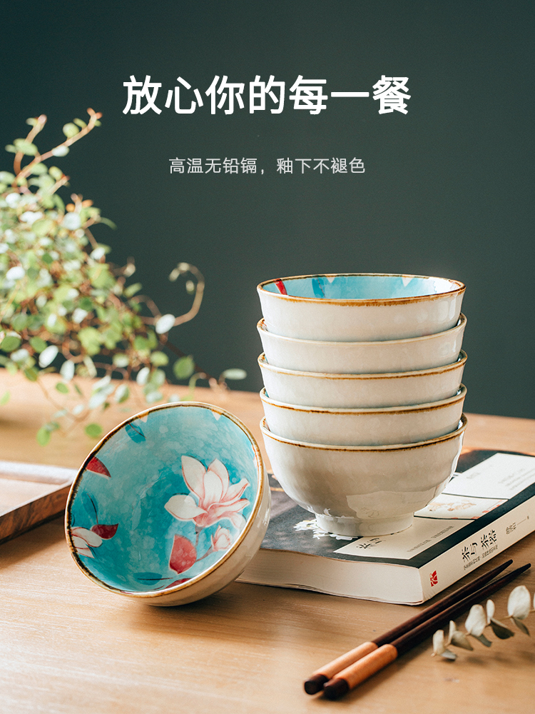 10 bowls of household rice bowl thick Jingdezhen Japanese-style tableware small porcelain bowl creative ceramic single set of eating chopsticks