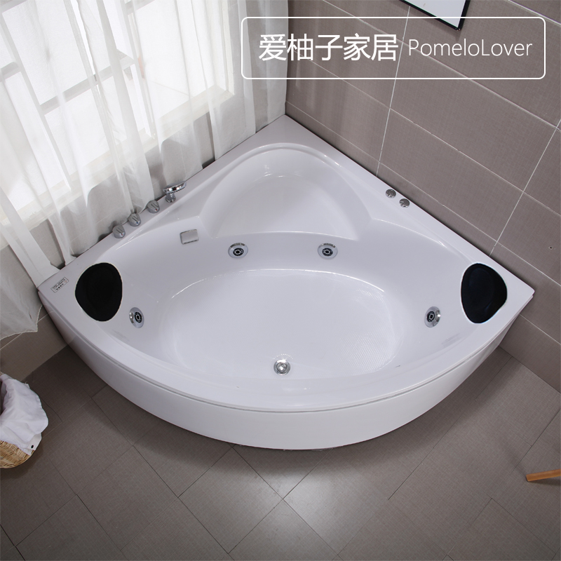 USD 107.50] Home adult couple freestanding fan-shaped bathtub ...