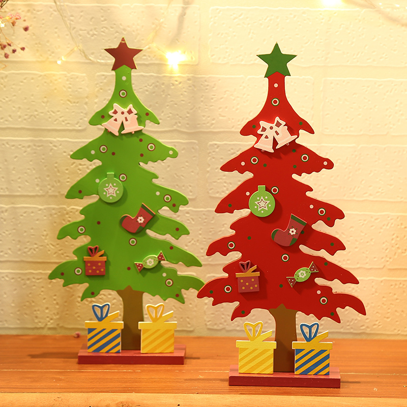 wild new christmas decorations creative diy wooden christmas tree single piece desktop decoration decoration ornaments