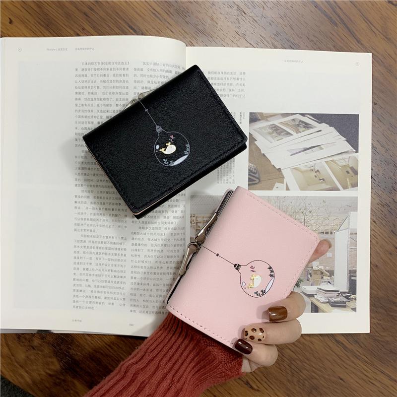 钱包女短款韩版简约学生小钱夹新款可爱小清新迷你零钱包卡包详细照片