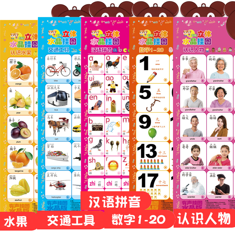 5 Sheets - Fruit - Transportation - Characters - Number 1-20 - Chinese Pinyin