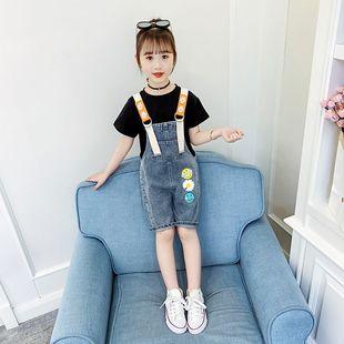 2020女童牛仔背带裤两件套中大童短裤夏装新款女孩短袖吊带裤套装