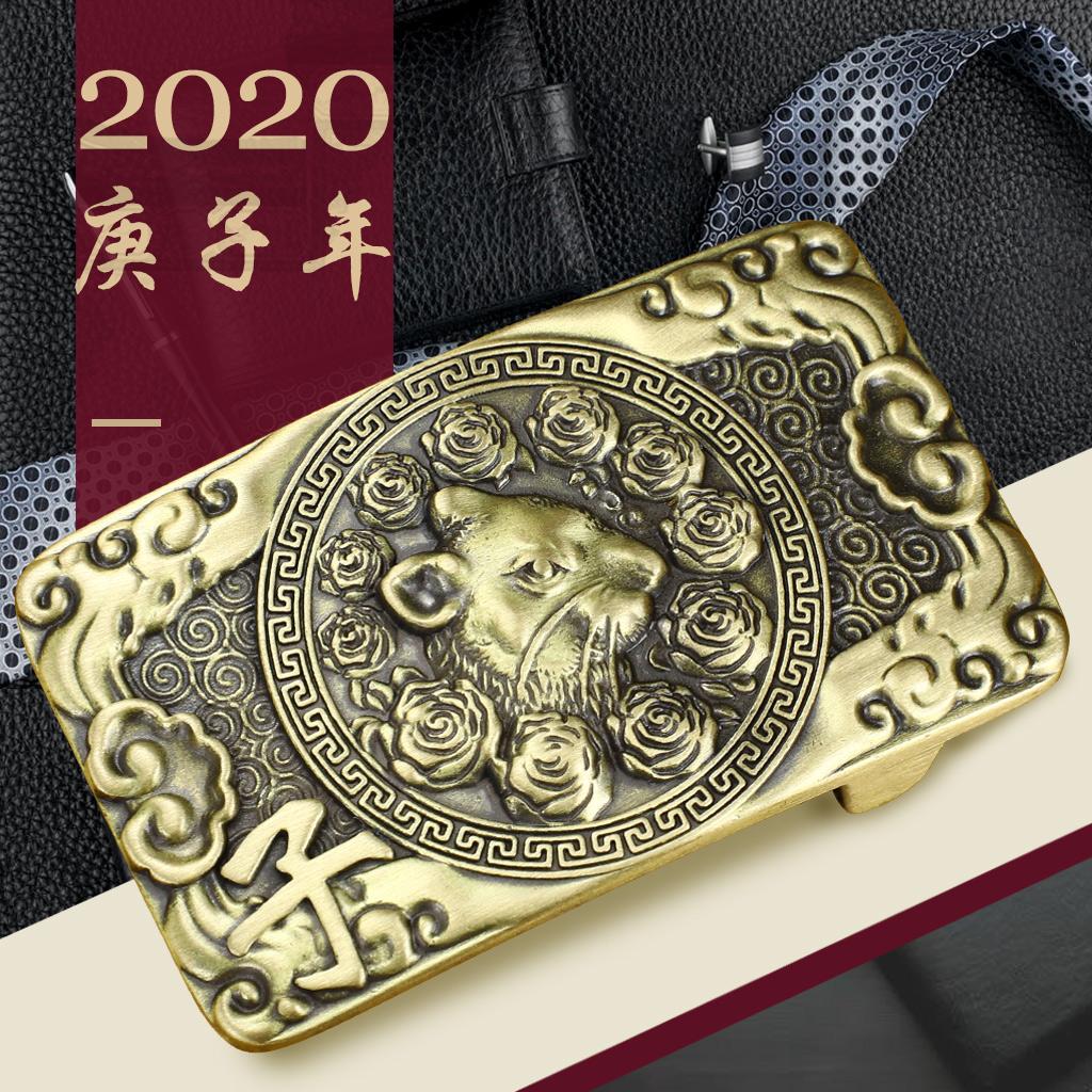 纯铜配件皮带扣头a配件扣男板扣正品3.8CM新款本命年黄铜十二生肖