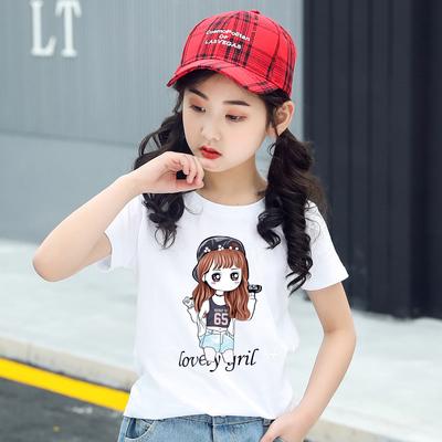 童装女童短袖T恤中大童纯棉