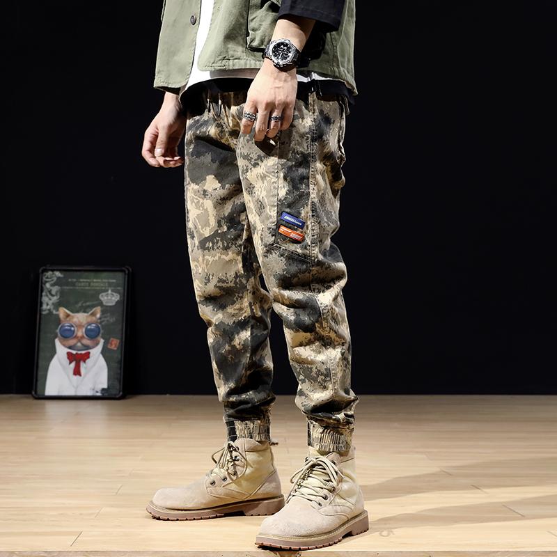 沙漠迷彩裤男工装裤潮牌宽松弹力休闲束脚裤男士大码特种兵战术裤
