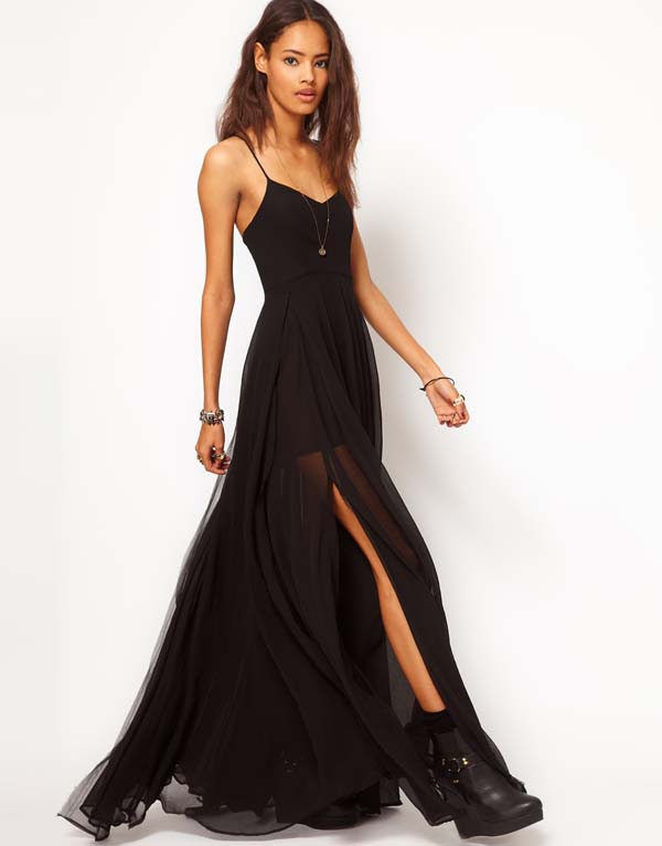 European and American Fan Double V-Neck Wide Dress Bohemian Sexy Black Sling Long Dress Chiffon Dress