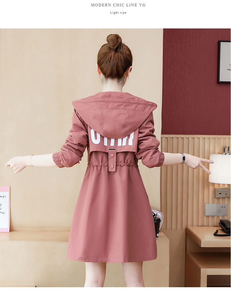 2020 Spring and Autumn new Korean version of the long-term waist fashion casual small man a hundred and Eight months windcoat jacket girl 58 Online shopping Bangladesh