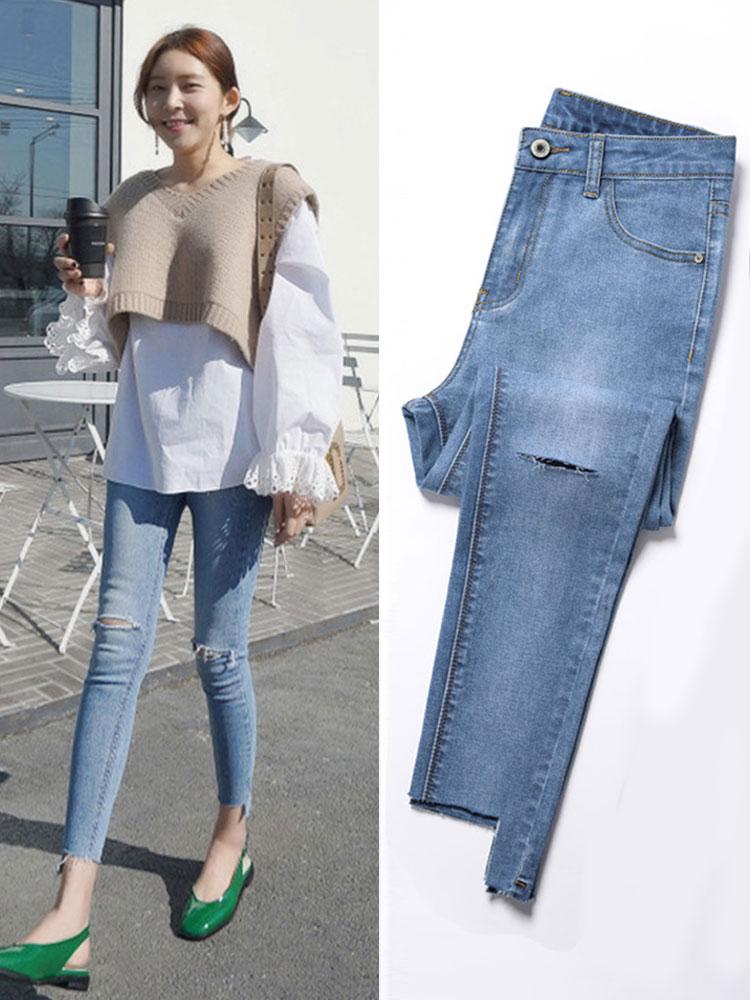 2020 new spring and autumn season cave slim jeans female nine Korean version was thin wild high-waisted slim pants children