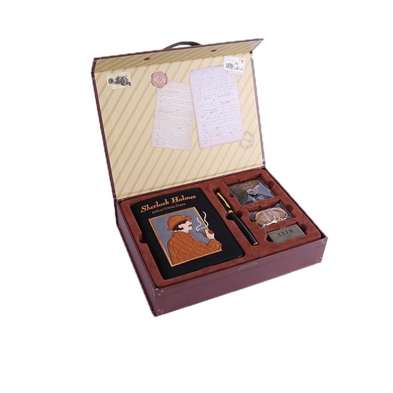 kinbor福尔摩斯手帐本礼盒套装复古笔记本子皮面记录本日程本计划本手账本套装