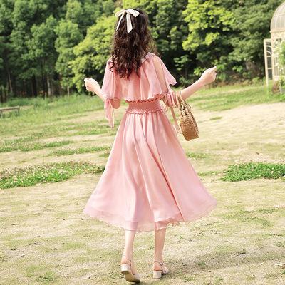 播喜复古甜美粉色雪纺翻领收腰显瘦初恋系连衣裙夏装2020新款女