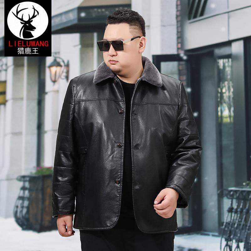Áo khoác da nam trung niên và cao tuổi cộng với áo khoác nhung dày cộng với chất béo cộng với size áo khoác lông nam - Quần áo lông thú