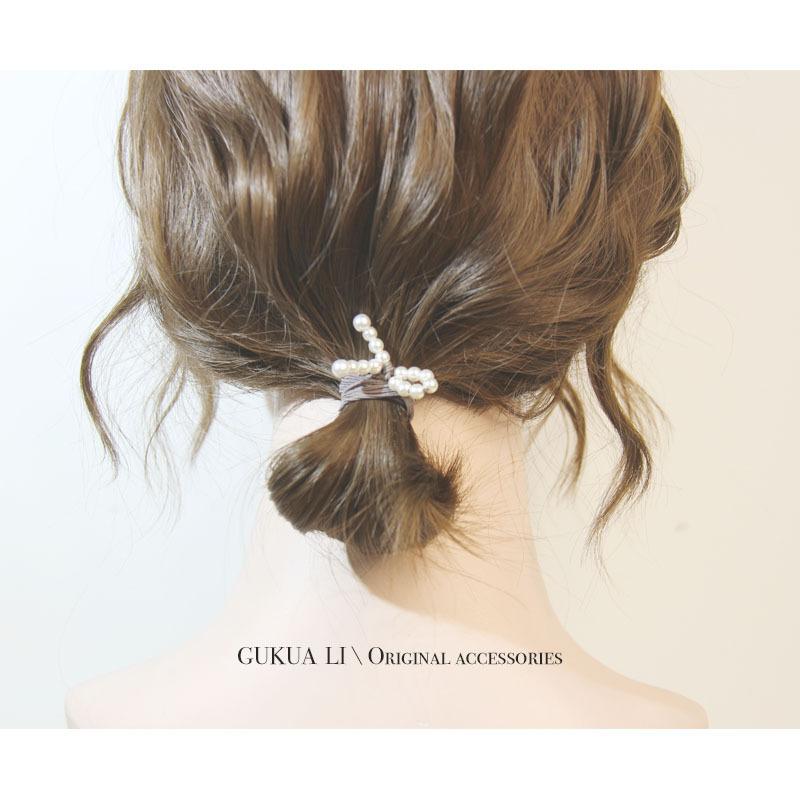 982美丽百搭珍珠头饰打结珍珠头绳韩式多层发圈手环发圈可爱