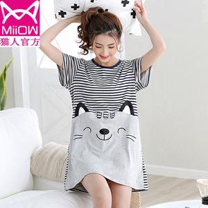 猫人纯棉短袖睡裙女夏季条纹加大码宽松胖mm200斤韩版中长款睡衣