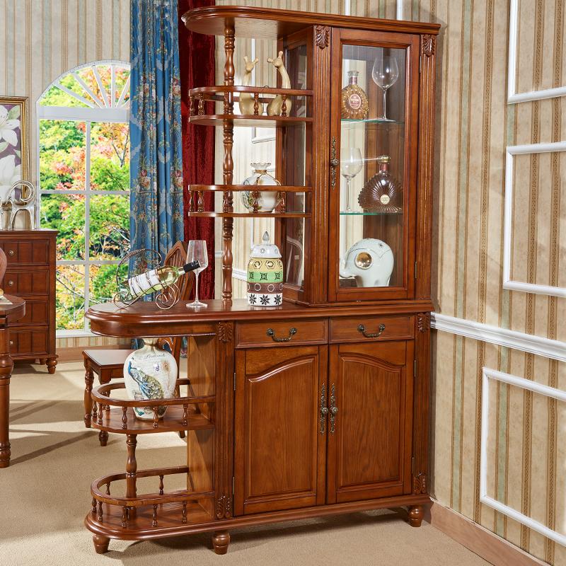 美式间厅柜实木简约客厅欧式玄关柜酒柜双面隔断门厅柜鞋柜屏风柜